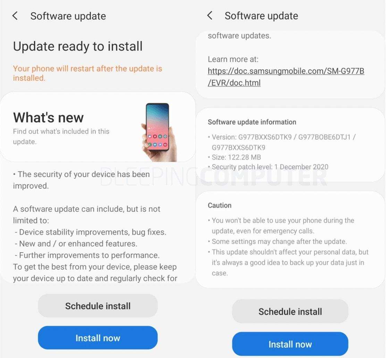 Actualizaciones de diciembre de 2020 de Samsung Galaxy Android
