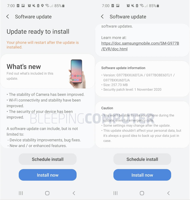 Samsung Galaxy Android November 2020 updates