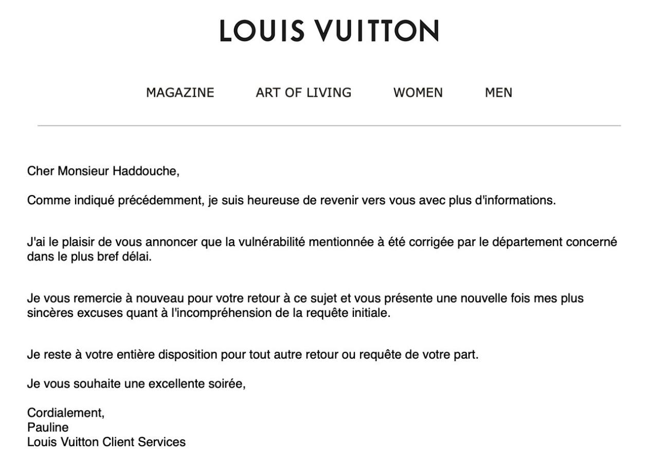 Réponse de Louis Vuitton