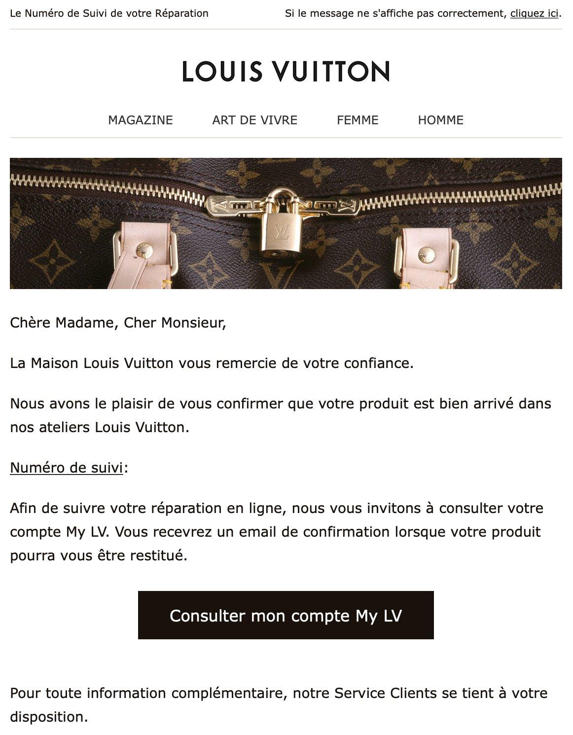 Notification par e-mail de Louis Vuitton
