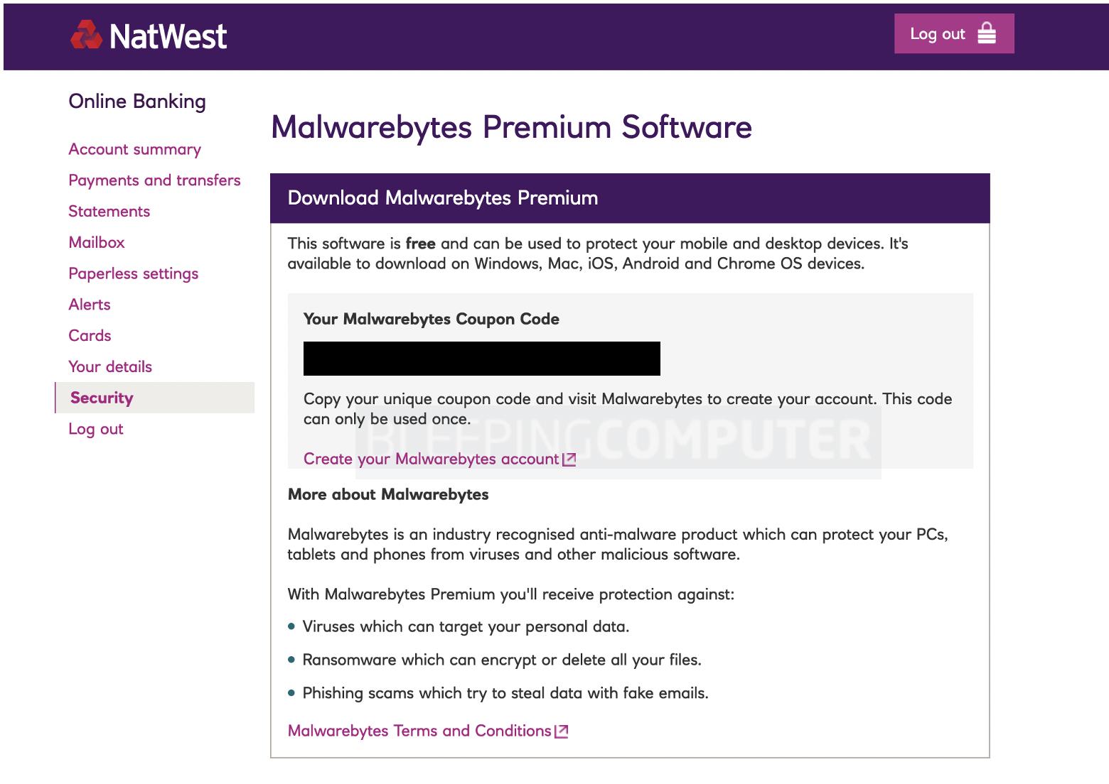 natwest malwarebytes key