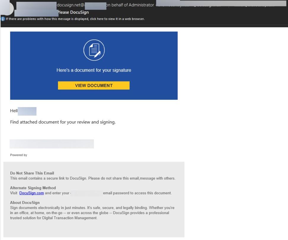 Sahte DocuSign kimlik avı e-postası