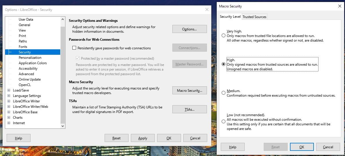 LibreOffice'te makroları devre dışı bırakmak için menü