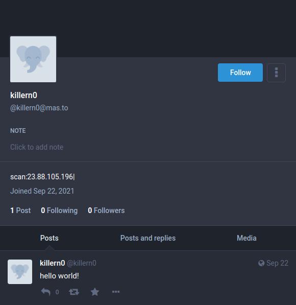 Açıklamada C2 URL'si olan Aktörün Mastodon profili