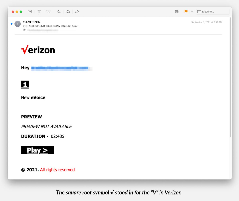 Verizon logosundaki karekök sembolünü kullanan kimlik avı mesajı