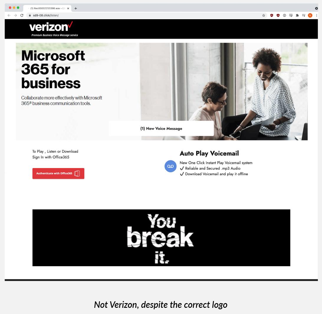 Kampanyanın kimlik avı sayfası olarak kullanılan klonlanmış bir Verizon sitesi
