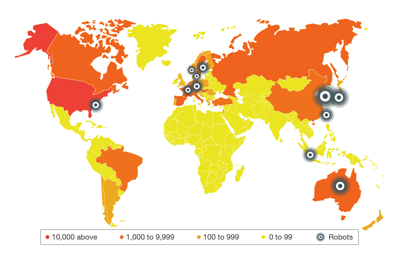 Map showing volume of exposed industrial routers