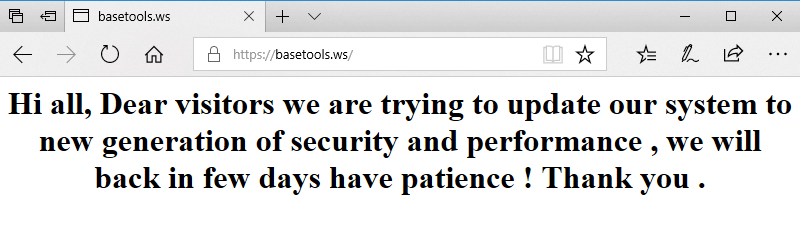 Basetools in maintenance mode