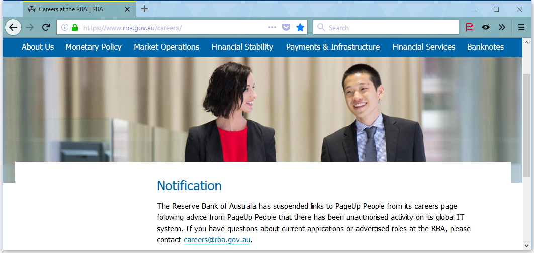 Reserve Bank of Australia PageUp breach notification