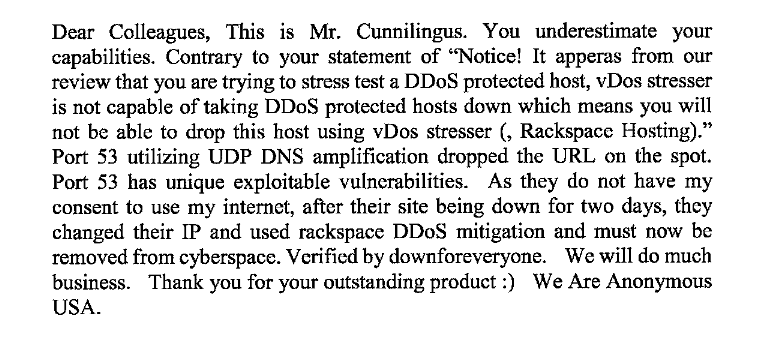 Gammell email to vDOS