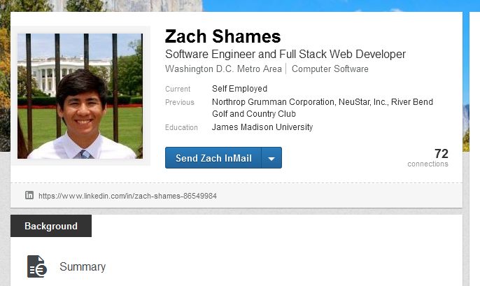 Zachary Shames LinkedIn profile