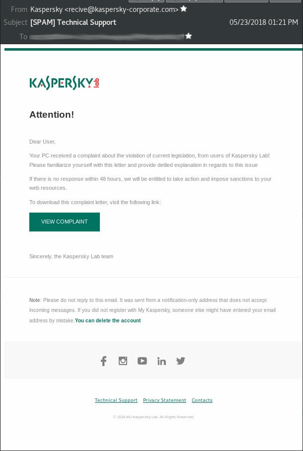 Cobalt Kaspersky-themed spear-phishing email