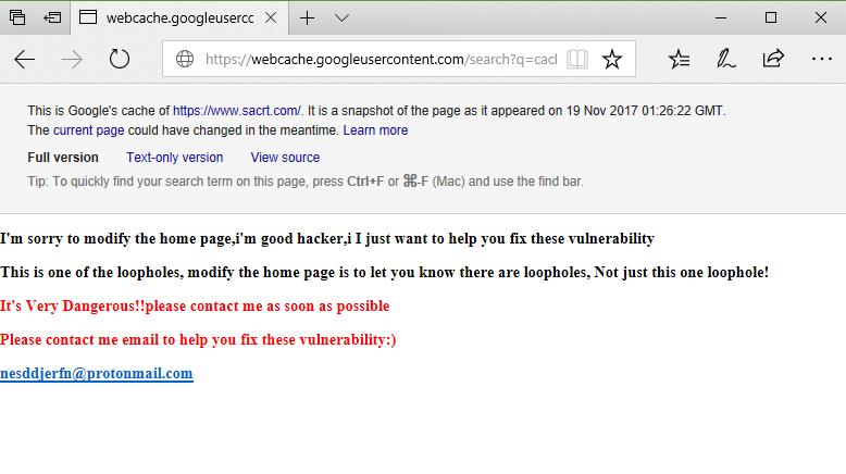 SacRT defaced homepage