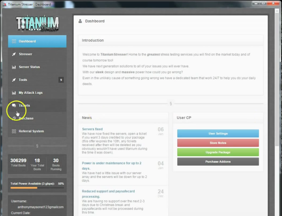 Screenshot of the Titanium Stresser interface