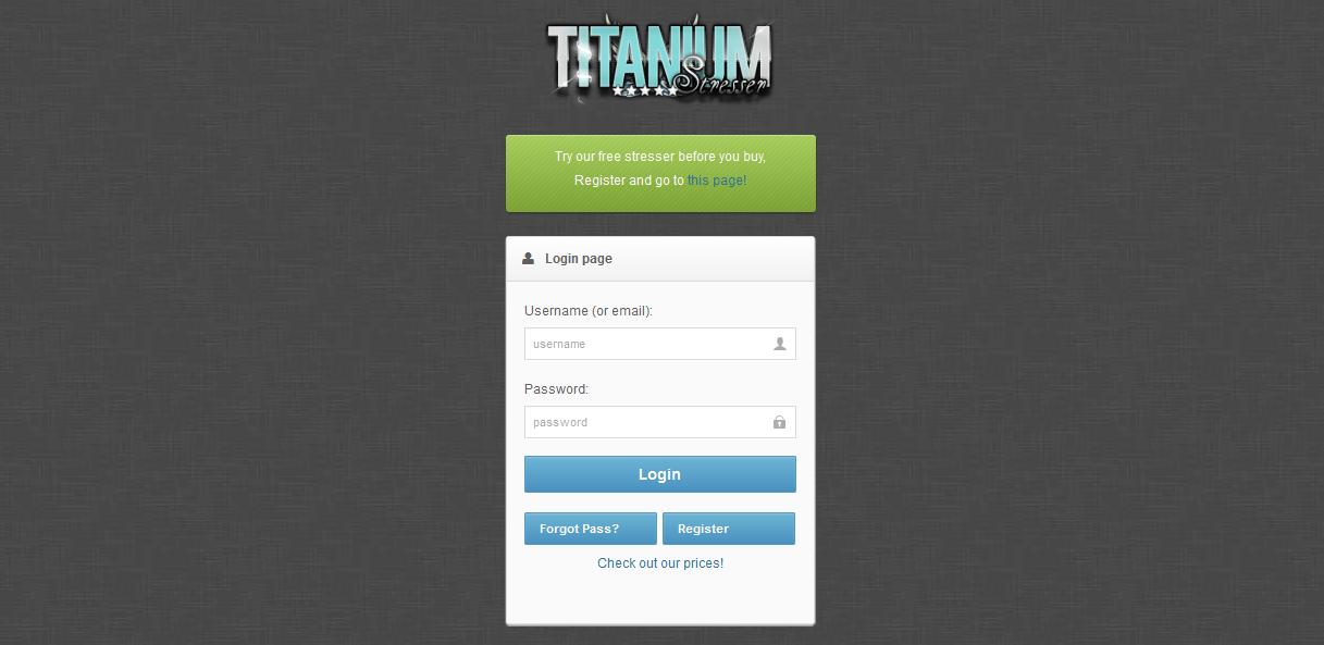 Titanium Stresser login page
