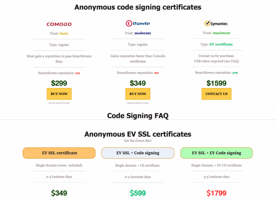 Price tags for code-signing certs