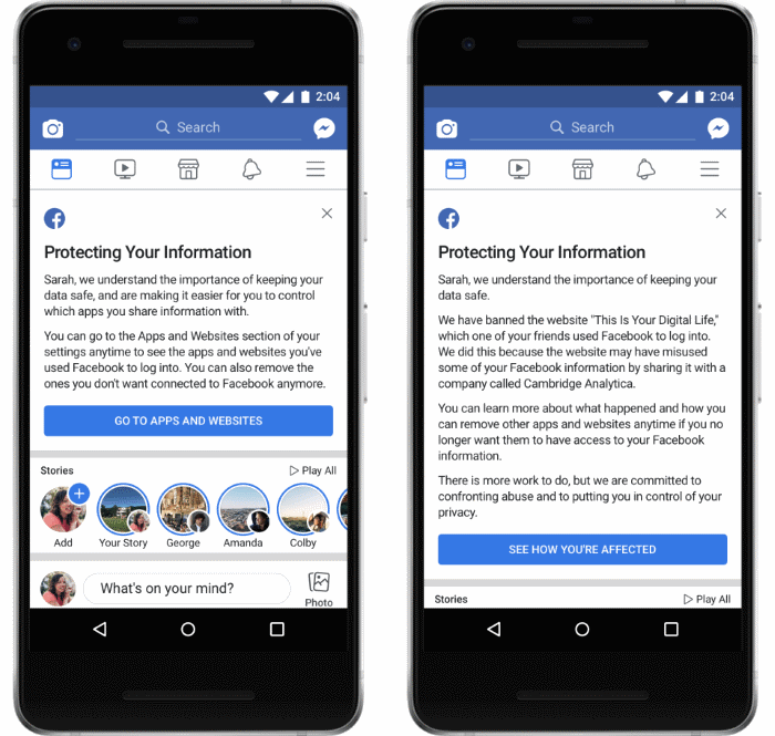Alerts Facebook plans to show to users on April 9, 2018