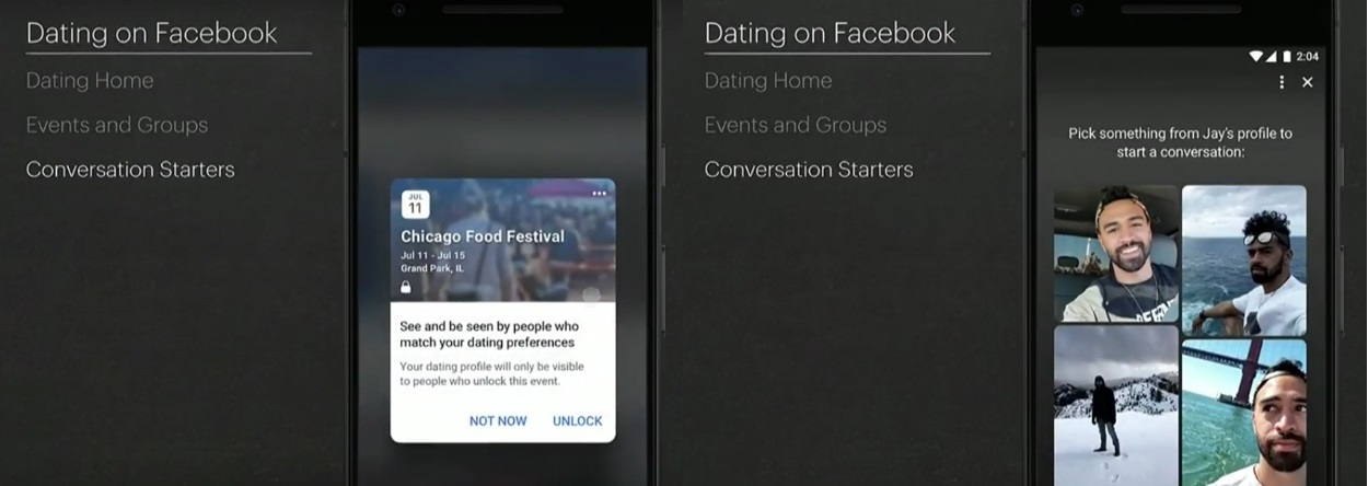 Facebook Dating app mock-ups