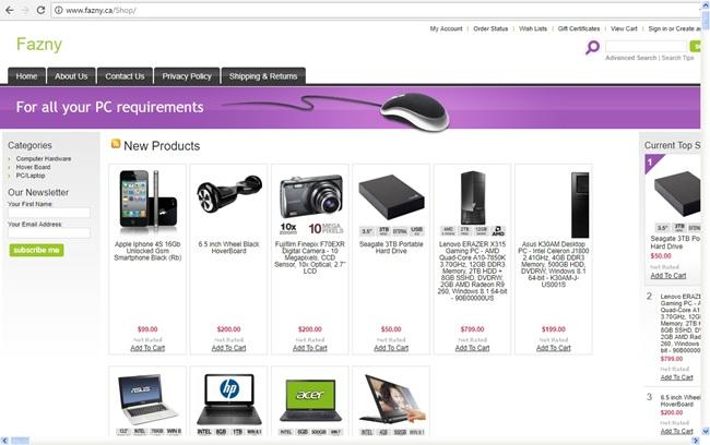 Fazny.ca website