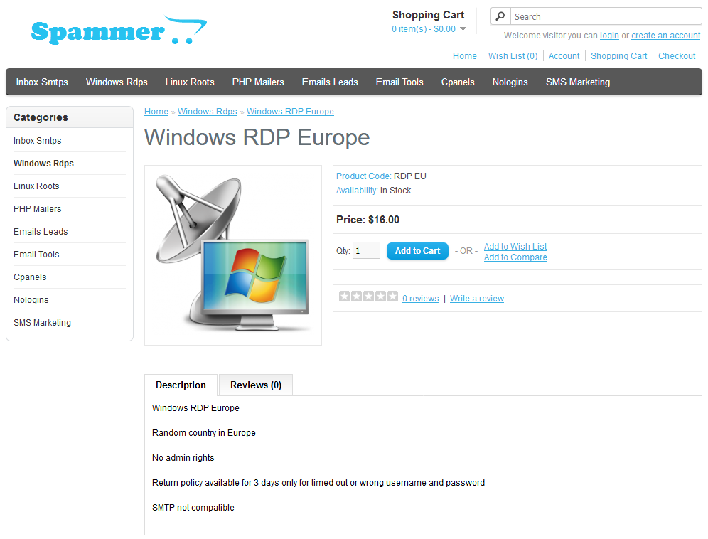 RDP server available for sale on Spammer store