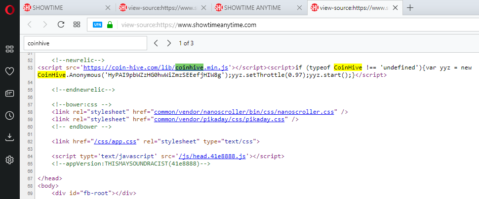Showtime source code