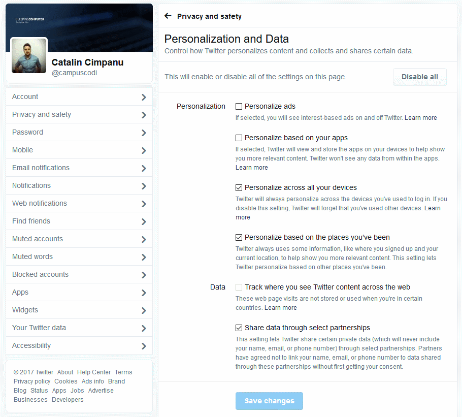 New Twitter settings page