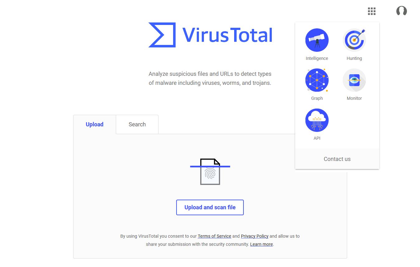 New VirusTotal homepage