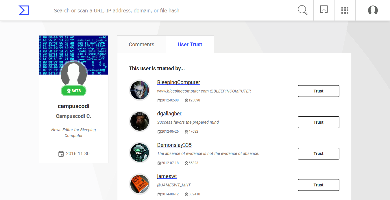 New VirusTotal profiles