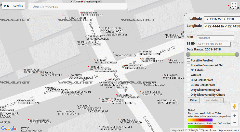 WiGLE map showing WiFi devices on a San Francisco street