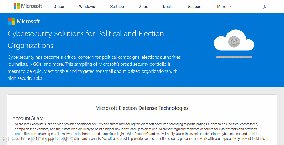 Microsoft AccountGuard portal
