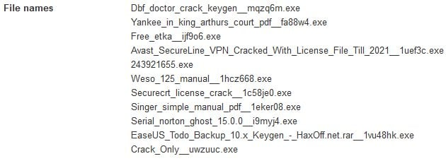 Names of different files laced with malware