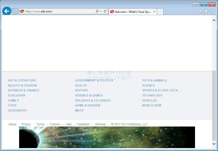 Crusadershowing banner on top of Ask.com