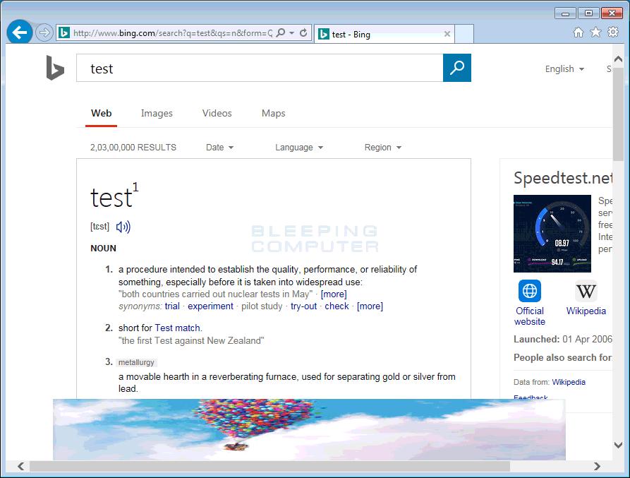 Crusadershowing banner on top of Bing