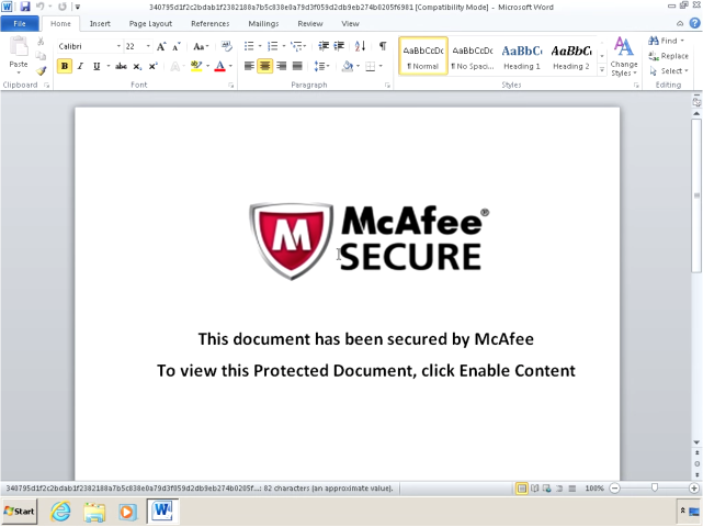 Word document used in the attacks