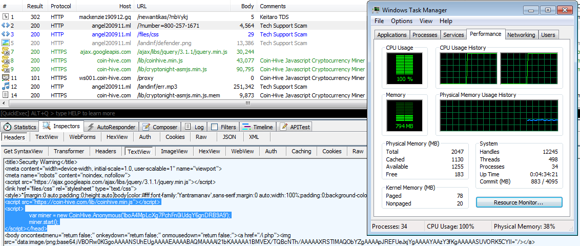 Coinhive used in malvertising campaign