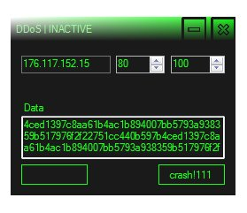 Windows form used to launch DDoS attacks from infected PCs