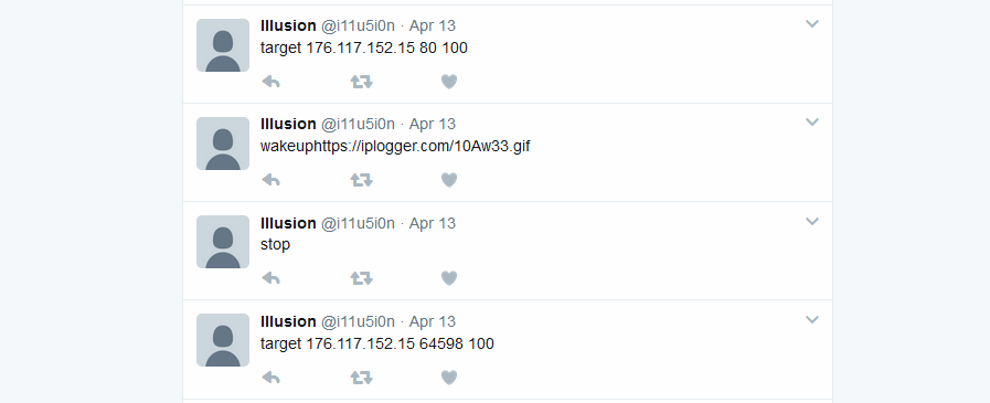 Commands sent out as tweets