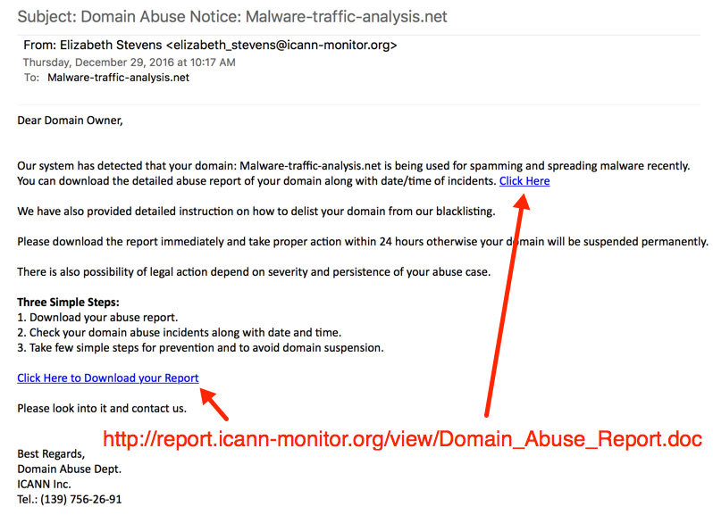 Spam sample originating from pseudo-Darkleech servers