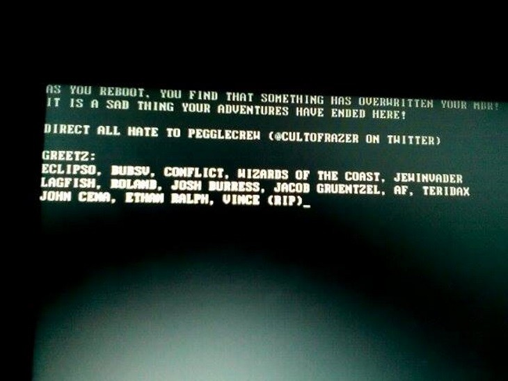Boot screen message in the Fosshub incident