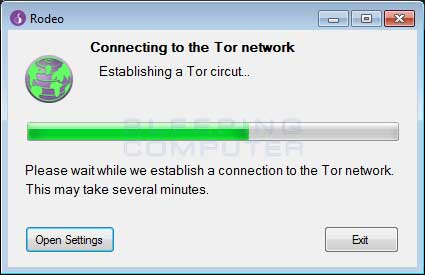 Fake Tor connection window
