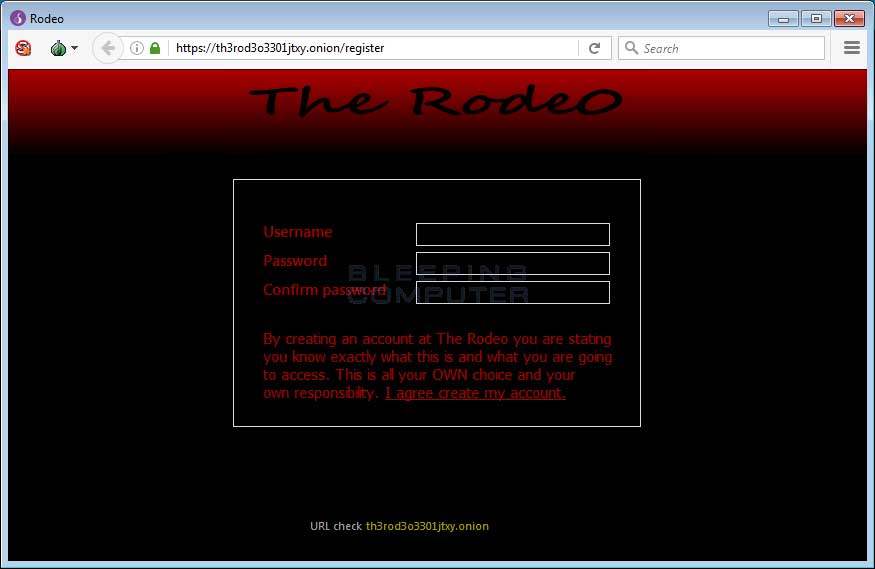 The Rodeo registration screen