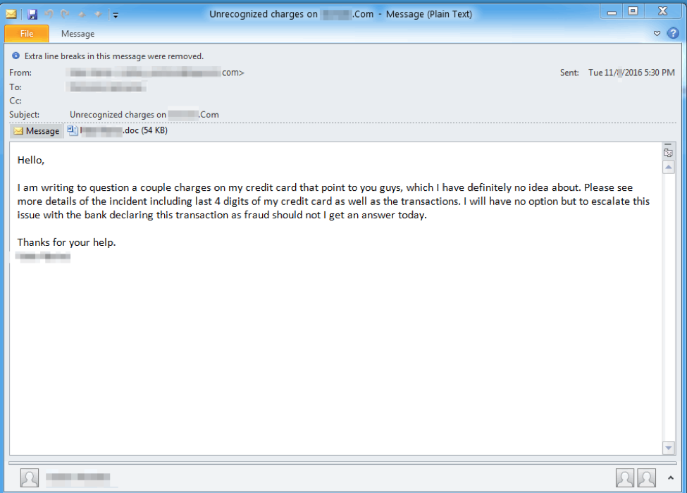 Email received by August victims