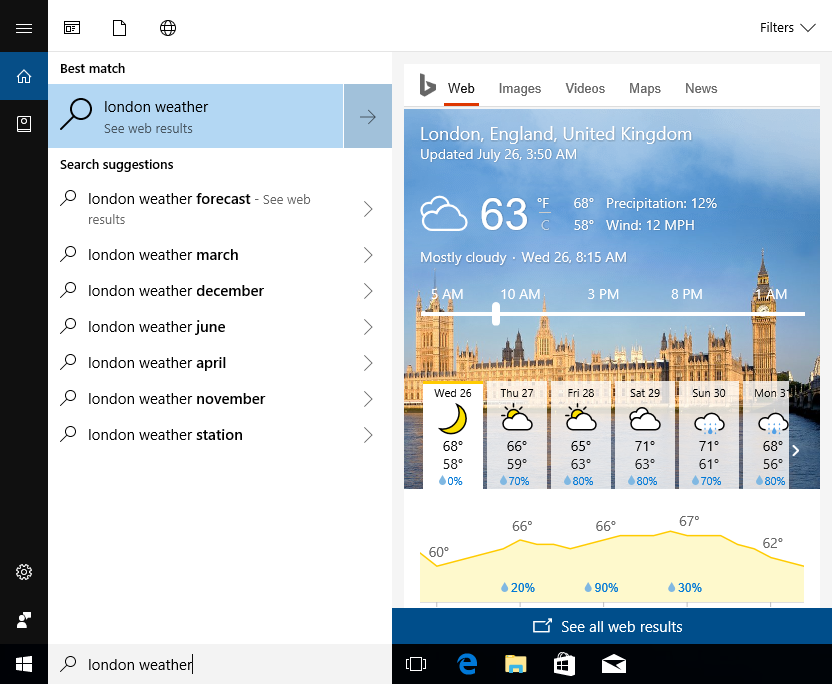 Showing search results in the Start Menu