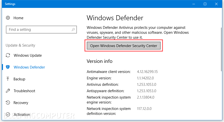 Windows Defender Settings section