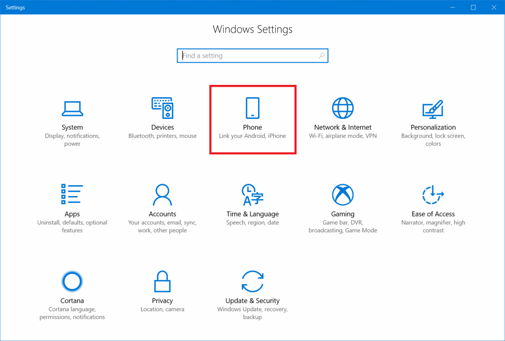 New Android option in Windows 10 settings panel