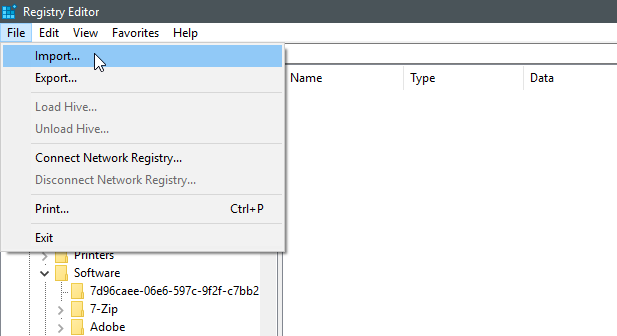 Windows Registry import feature