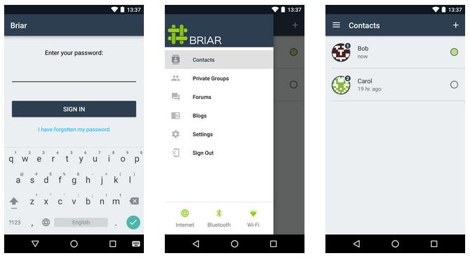 Briar app screens